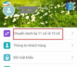 Hướng dẫn đổi đầu số trong danh bạ thông qua ứng dụng My Viettel